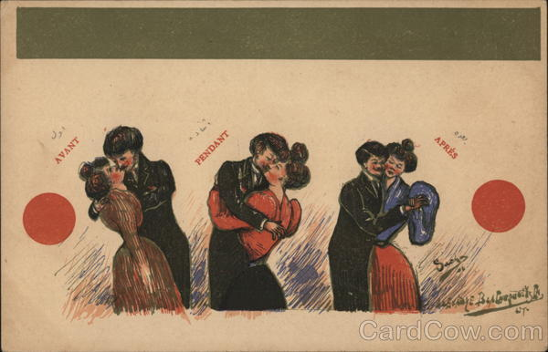 Couples Kissing, Dancing Artist Signed