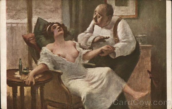 Man Soothing Partially Dressed Woman Albert Andre Guillaume