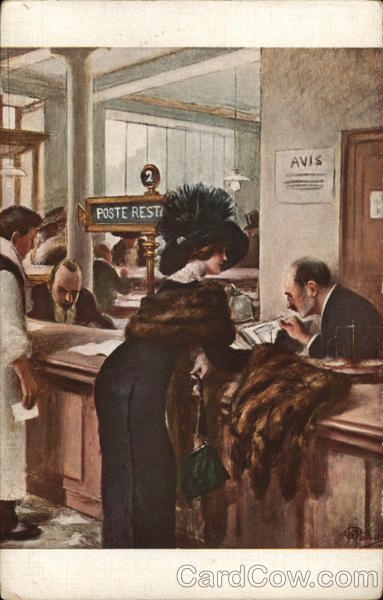 Man Assisting Woman with Mail Albert Andre Guillaume
