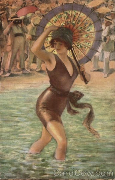 Art Deco - A woman in a swimsuit at the beach Albert Andre Guillaume