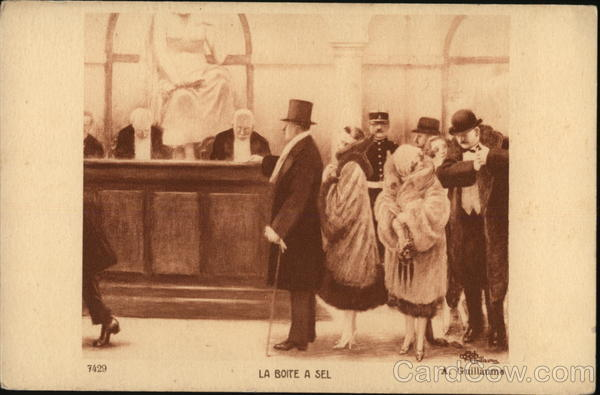 French People Waiting in Line Albert Andre Guillaume