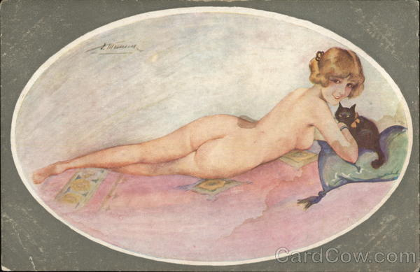 Nude Woman with Kitten Suzanne Meunier Risque & Nude