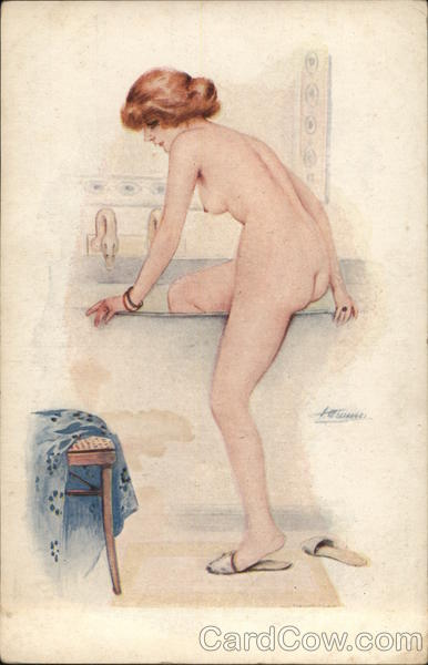 Woman Stepping Into Tub of Water Suzanne Meunier Risque & Nude