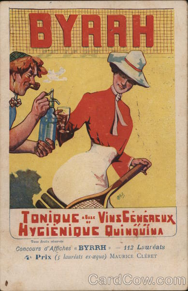 Serving Drink on Tennis Court Advertising