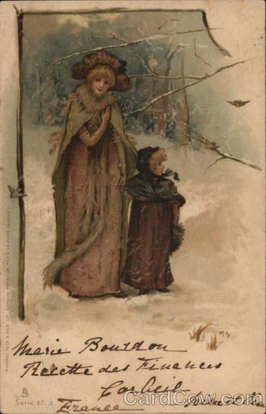 A Woman and Child Walking Through the Snow Maud Goodman