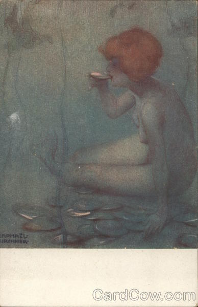 Ondine Mermaid in Sea Raphael Kirchner Art Nouveau