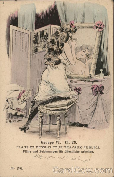 Woman Putting on Makeup at Dressing Table G. Mouton
