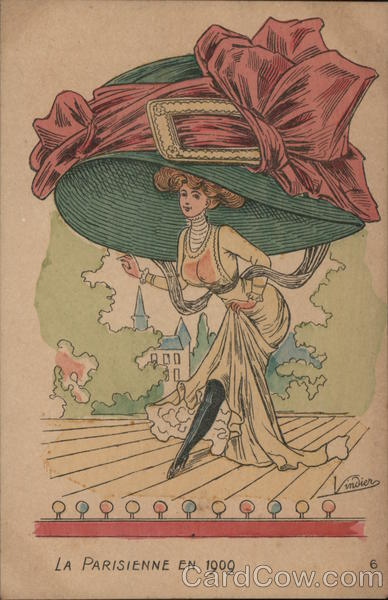 Woman Wearing Giant Hat With Skirt Raised, Showing Leg