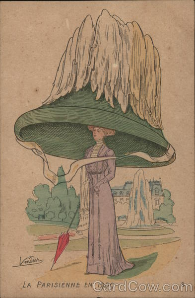 Woman in Very Large Hat Vindier Artist Signed