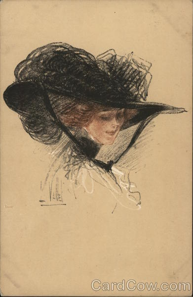 Woman in Large Black Hat Louis Vallet Artist Signed