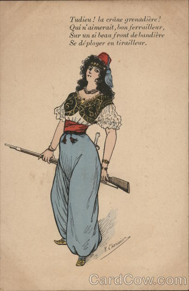 Woman In Harem Costume Holds A Rifle F. Chamouin Military