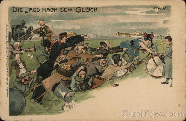 Men Trying to Catch Woman (Fortune) on Bike F. Kleinhempel
