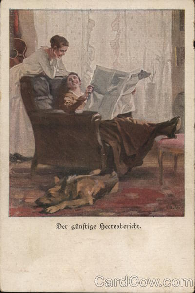 Woman in Chair Reading Newspaper with Another Woman Behind Her