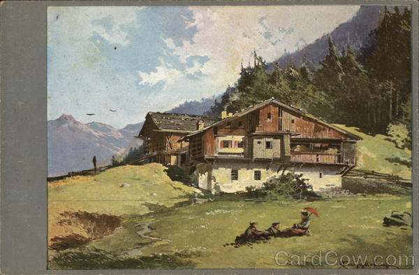 Chalet in the Mountains Guggenberger Artist Signed