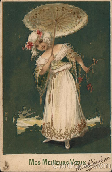 Lady in White With Parasol Women