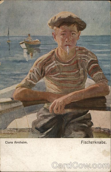 Boy Smoking in Boat Fischerknabe Clara Arnheim Art