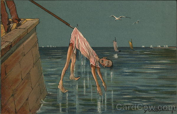 Man Being Fished From Water Donadini Jr. Artist Signed