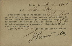 French Payment Request Form - Postal History Postcard