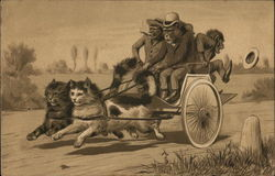 Monkey's Riding Cart Pulled by Cats