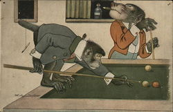 Monkeys Playing Pool Postcard