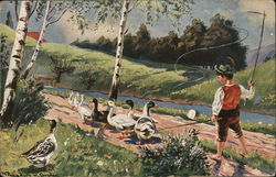 Boy Walking with Ducks Near Water