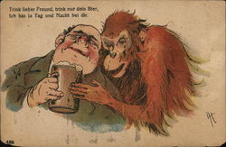 Man Drinking With Monkey