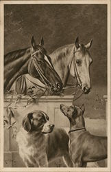 Pair of Horses and Dogs