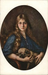 Young Girl With A Bulldog