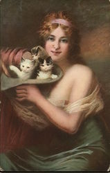 Woman Holding Several Kittens