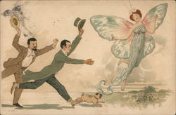 Men and dog Catching a Fairy