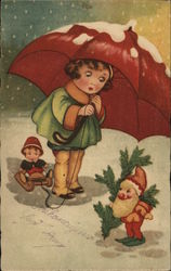 Art Deco Girl in Snow Holding Umbrella with Elf