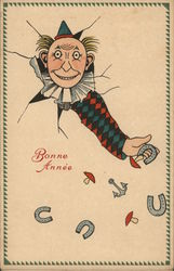 Art Deco Bonne Annee - Pierrot with Head Through Card Tossing Horseshoes