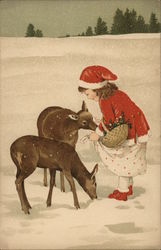 Art Deco Young Girl Petting Deer in the Snow