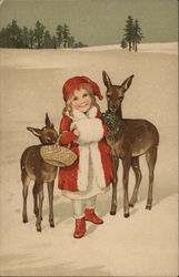 Art Deco Girl With Muff and Deer