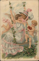 Woman on Swing Kissing one of Two Cherubs