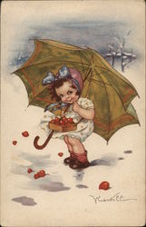 Art Deco Cute Little Girl with Basket and Umbrella
