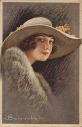 Art Deco Woman in Large White Hat with Flowers