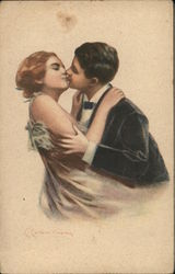 Art Deco Man and Woman Kissing