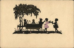 Silhouette of Girls Playing Outdoors