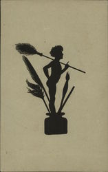 Silhouette of Cherub of Nymph Holding Feather Over Shoulder