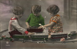 Little Girls Playing with Toy Train Art Deco