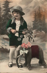 Art Deco  Smiling little girl with toy elephant