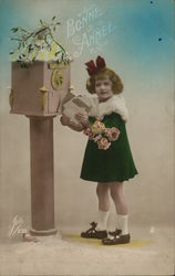 Bonne Annee - Girl Mailing Letters