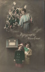 Angel with Christmas Tree, Children Mailing Letter