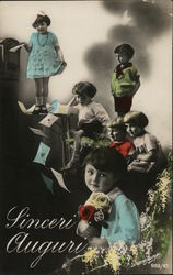 Art Deco Children Writing & Mailing Letters