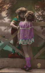 Art Deco Little Girls Over the Fence