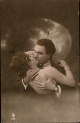 A Man and a Woman Kissing Postcard