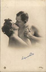 Naked Couple Kissing Postcard