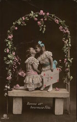 Two Girls Kissing Under Arbor
