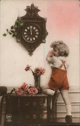 Art Deco Child Posing With Clock and Flowers